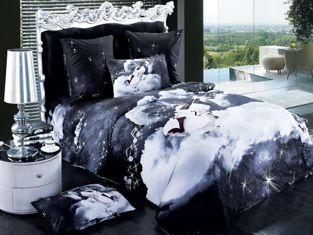 Ночь - комплект постельного белья из сатина с 4 наволочками<br><br>Размер: Семейный, 4 нав.