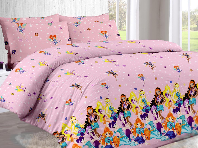 Винкс - комплект постельного белья из поплина<br><br>Размер: 1,5-спальный (наволочки 70х70)
