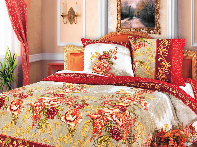 Гобелен (красный) - комплект постельного белья из бязиПодарки к 8 марта<br><br><br>Размер: Семейный (2 наволочки 70х70)