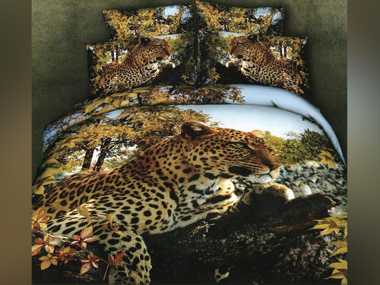Леопарды - комплект постельного белья из сатина с 4 наволочками<br><br>Размер: Семейный, 4 нав.