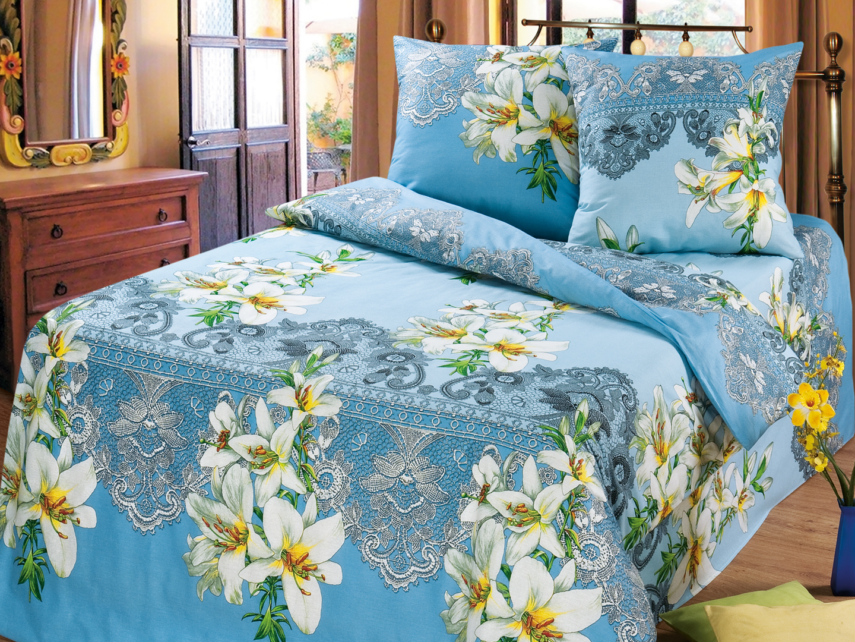 Комплект постельного белья Лилии (голубой)Бязь<br><br><br>Размер: 2-cпальный Евро (2 наволочки 70х70)