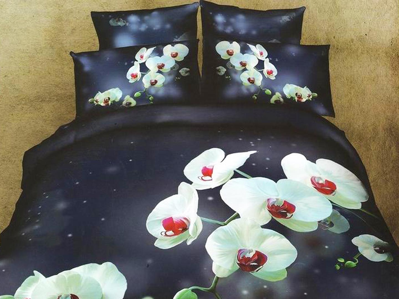 Ночная орхидея - комплект постельного белья из сатина с 4 наволочками<br><br>Размер: Семейный, 4 нав.