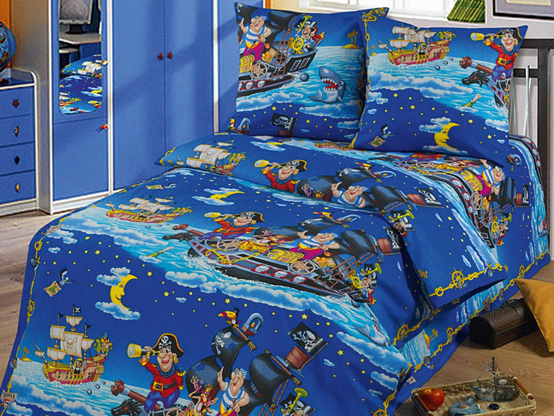 Комплект детского постельного белья ПиратыДетское постельное белье<br><br><br>Размер: 1,5-спальный (Наволочки (2 шт.) - 50х70)