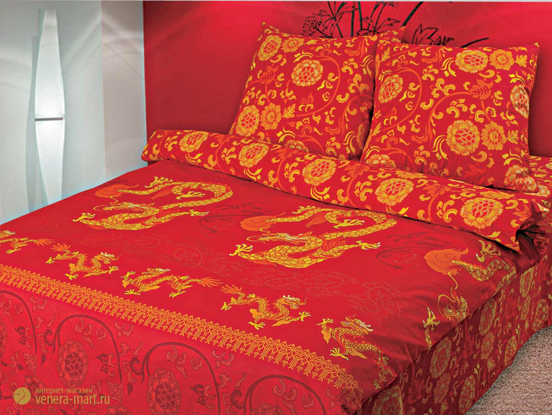 Праздник дракона - комплект постельного белья из поплина<br><br>Размер: 1,5 спальный, нав. 50х70