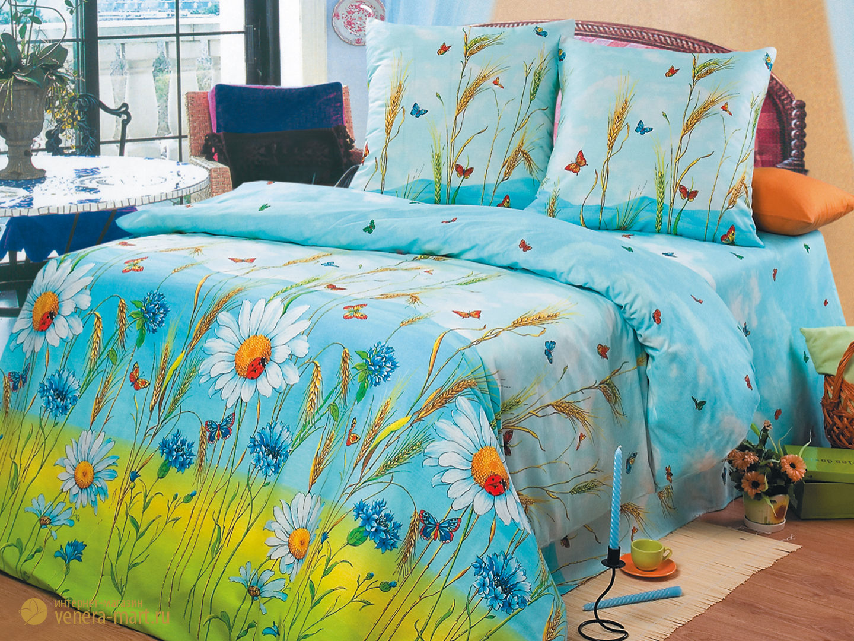 Русское поле - комплект постельного белья<br><br>Размер: Евростандарт, нав. 50х70