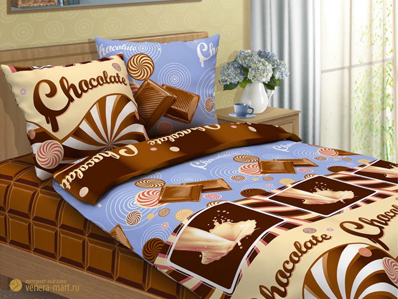 Шоколад - комплект детского постельного бельяПодарки на День рождения<br><br><br>Размер: 1,5-спальный (Наволочки (2 шт.) - 70х70)