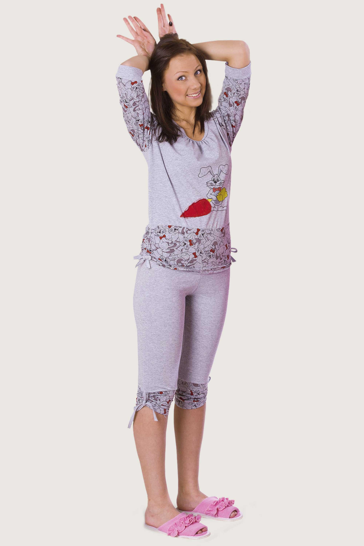 Пижама женская Зайка кофта рукав 3/4 + бриджиКоллекция ОСЕНЬ-ЗИМА<br><br><br>Размер: 42