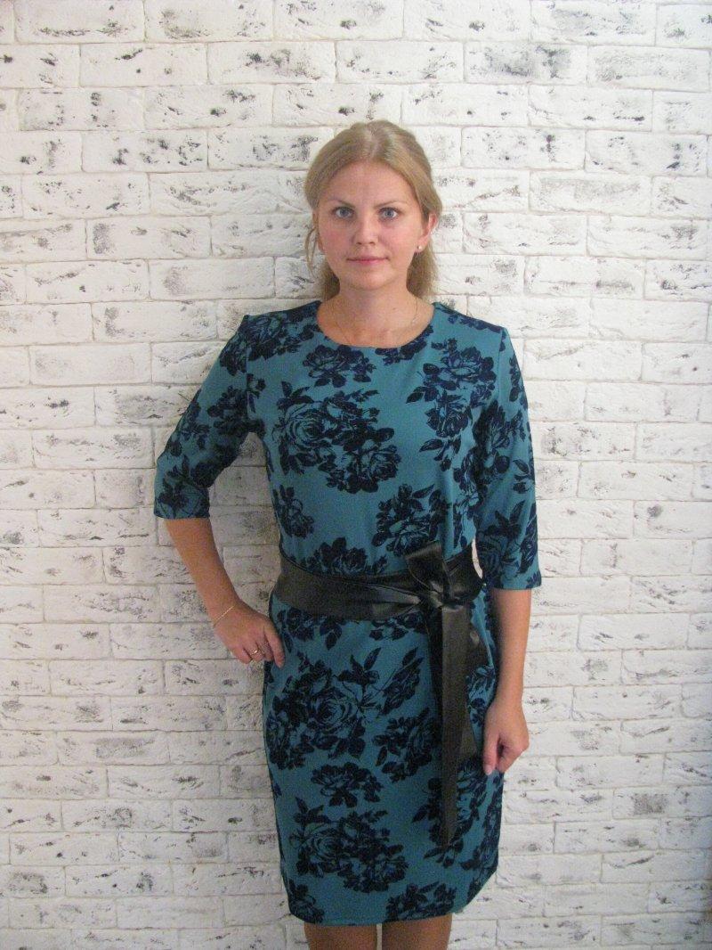 Платье женское с поясом Роза голубаяПлатья<br><br><br>Размер: 50