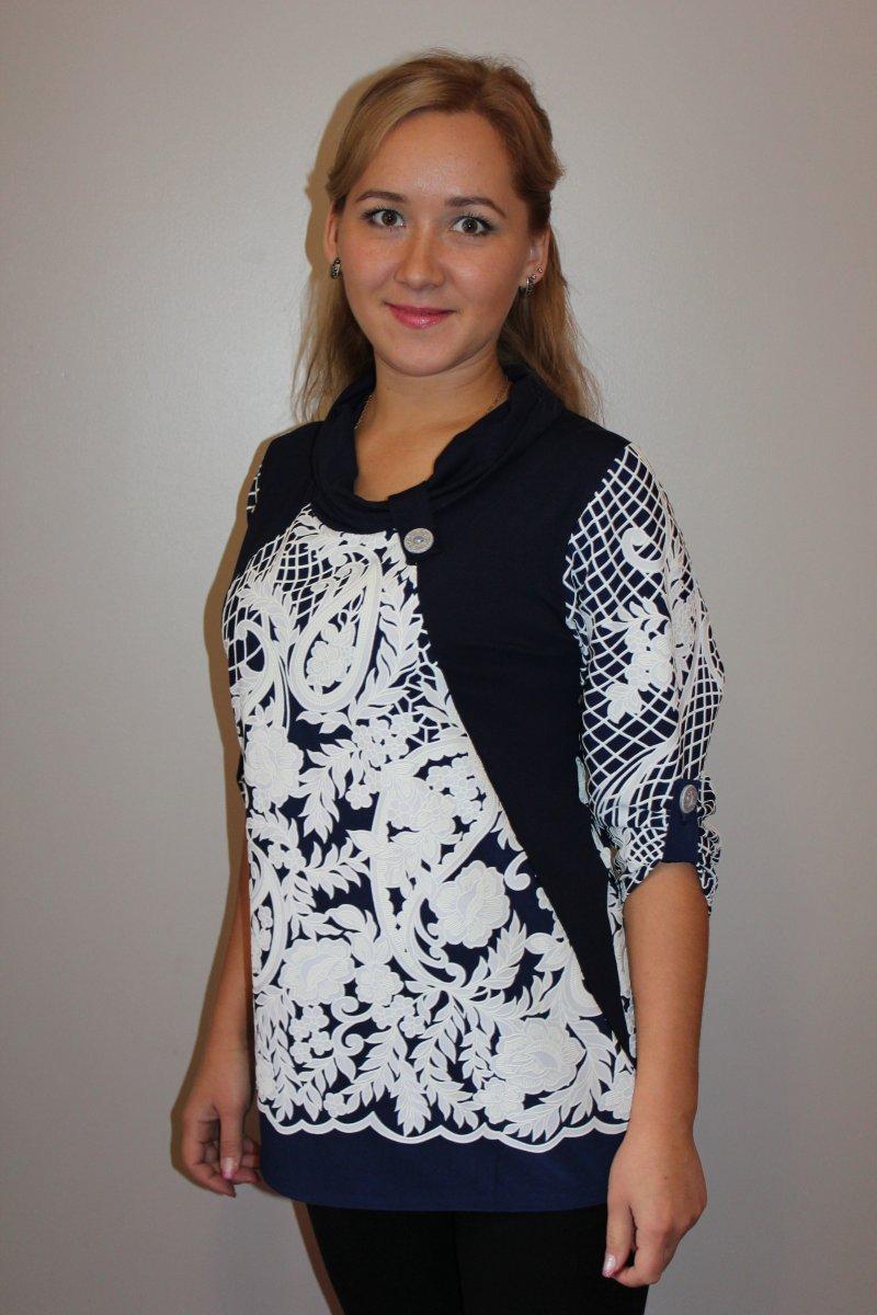 Блузка женская Рона с рукавом 3/4Туники, рубашки и блузы<br><br><br>Размер: 54