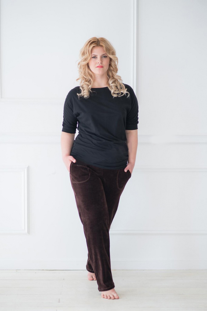 Брюки женские Агнесса с карманамиБрюки, юбки<br><br><br>Размер: 56