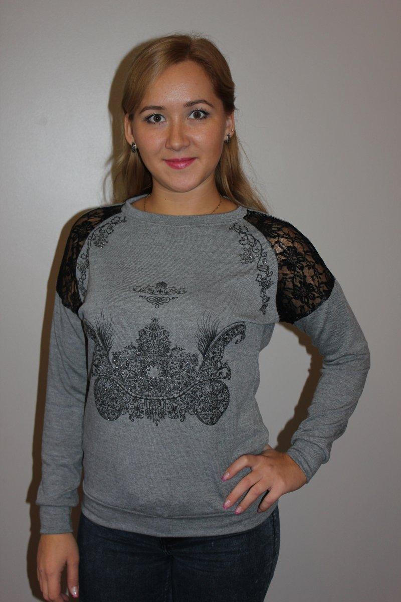 Кофта женская Royal с кружевными вставкамиКофты, свитера, толстовки<br><br><br>Размер: 52