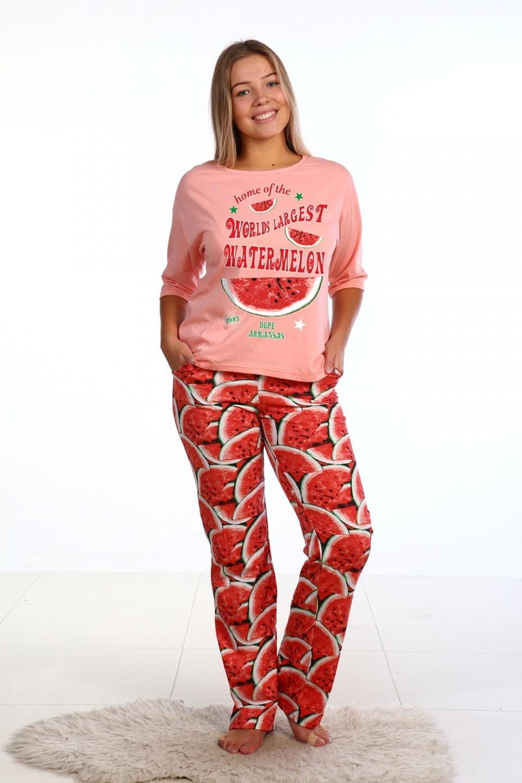 Пижама женская Сочный арбуз кофта и брюки<br><br>Размер: 48