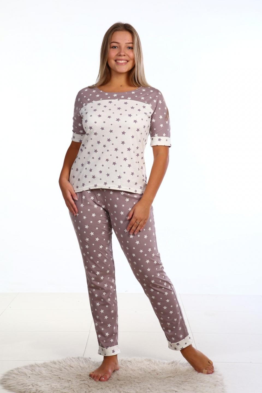Пижама женская Звездочка футболка и брюкиПижамы<br><br><br>Размер: 48