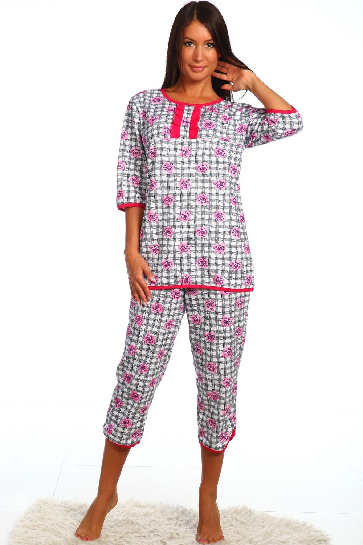 Пижама женская Лола блуза и бриджиПижамы<br><br><br>Размер: Фиолетовый