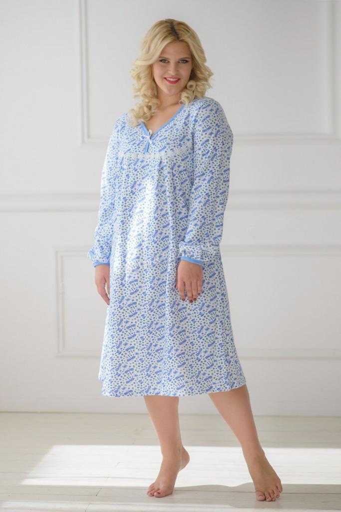 Сорочка женская Юна с длинным рукавомДомашняя одежда<br><br><br>Размер: 48