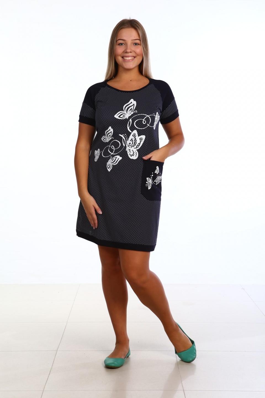 Туника женская с коротким рукавом БабочкиТуники, рубашки и блузы<br><br><br>Размер: 60