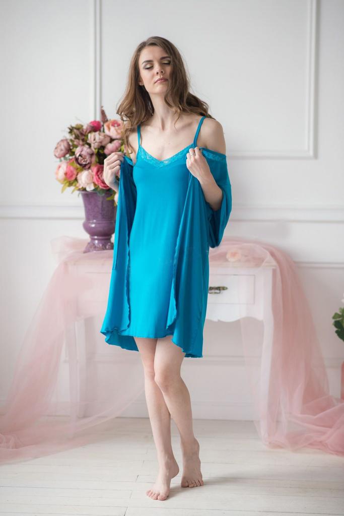 Комплект женский Империо халат и сорочкаДомашняя одежда<br><br><br>Размер: 46
