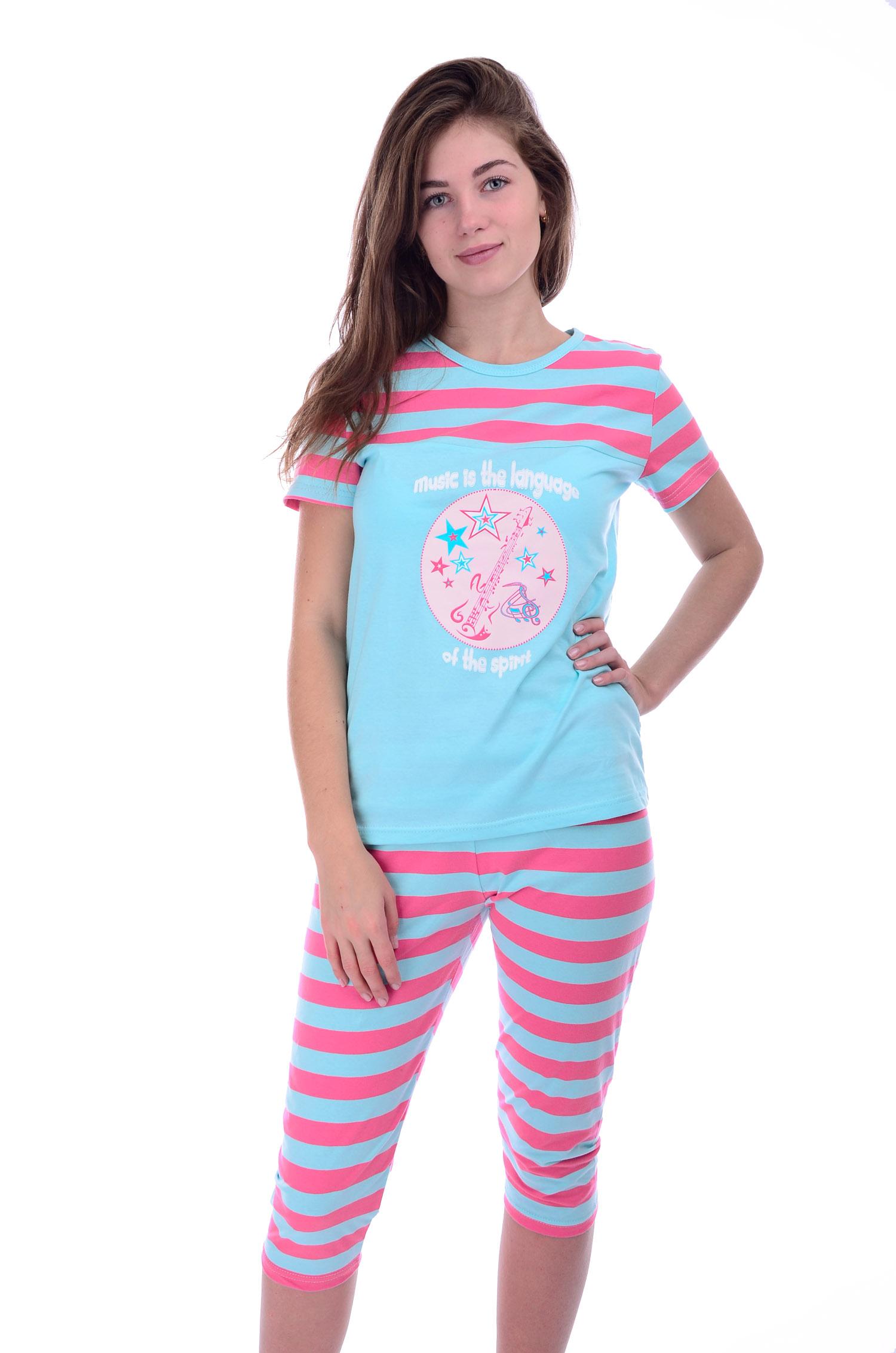 Пижама женская Гитара футболка и бриджиДомашняя одежда<br><br><br>Размер: 44
