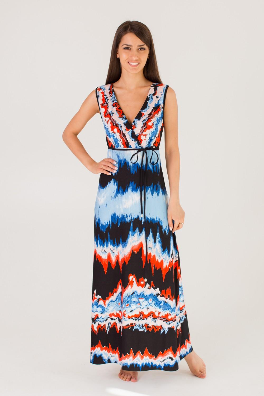 Платье женское Шерон с V-образным вырезомПлатья и сарафаны<br><br><br>Размер: Синий