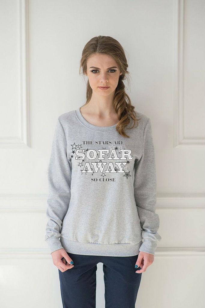 Толстовка женская Far Away с круглым вырезомКофты, свитера, толстовки<br><br><br>Размер: 46