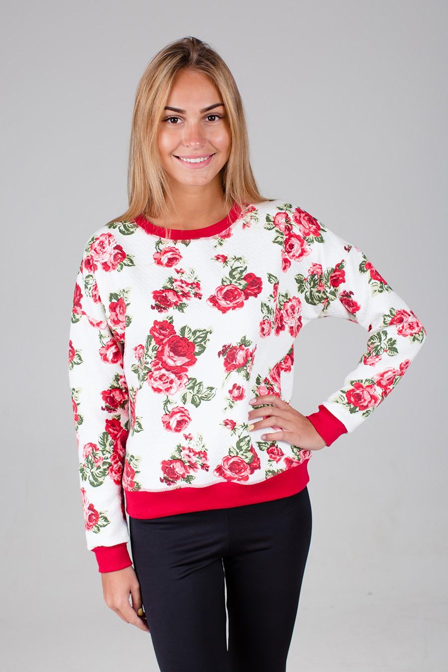 Толстовка женская Грейс с круглым вырезомКофты, свитера, толстовки<br><br><br>Размер: Красные цветы