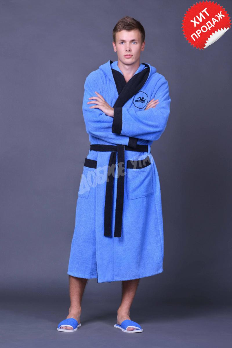 Халат мужской для ванной Спортивный<br><br>Размер: Голубой