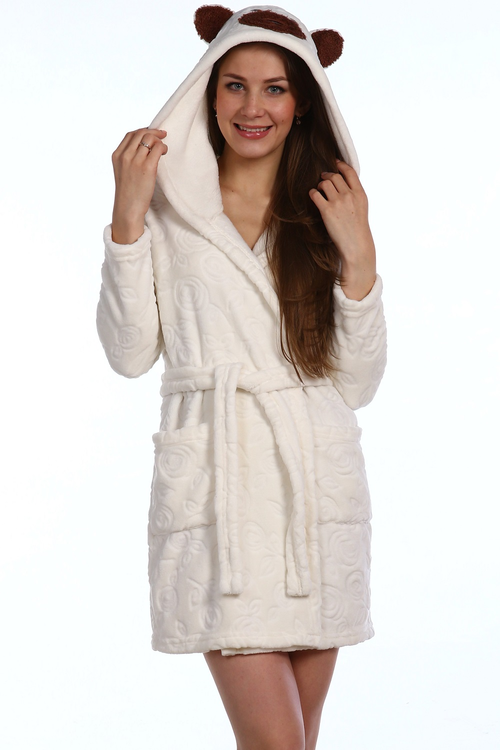 Халат женский Энимал с капюшономХалаты<br><br><br>Размер: Белый