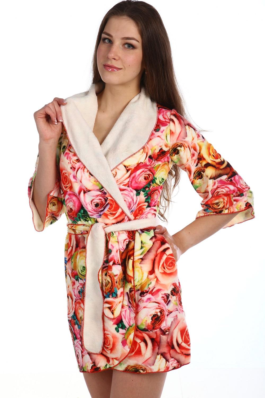 Халат женский Вида с поясомДомашняя одежда<br><br><br>Размер: Розовый