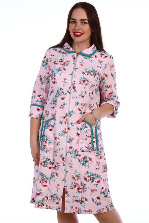 Халат Розочки на молнии с длинным рукавомДомашняя одежда<br><br><br>Размер: Голубой
