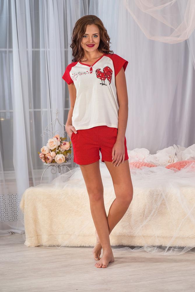 Пижама женская Хэппи футболка и шортыДомашняя одежда<br><br><br>Размер: 44