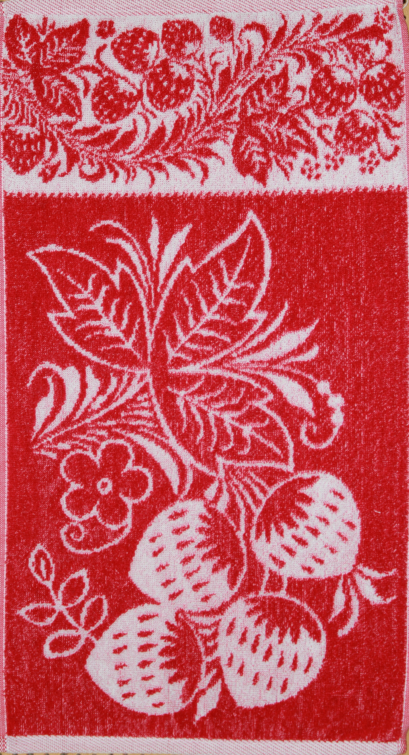 Полотенце махровое Клубника 30х60Полотенца<br><br><br>Размер: Красный