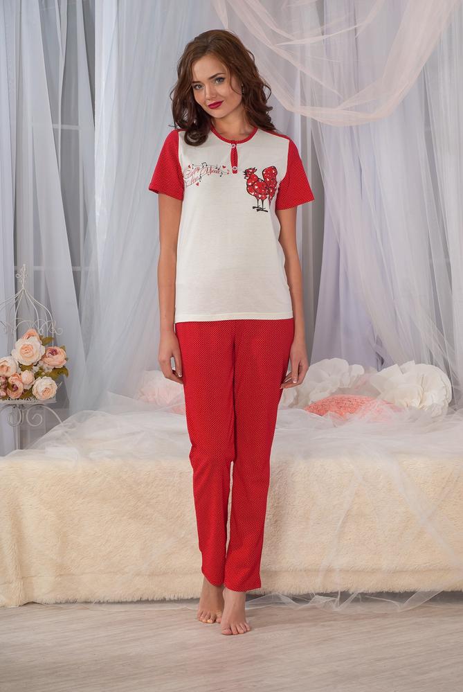 Костюм женский Хэппи футболка и брюкиДомашние комплекты, костюмы<br><br><br>Размер: 52