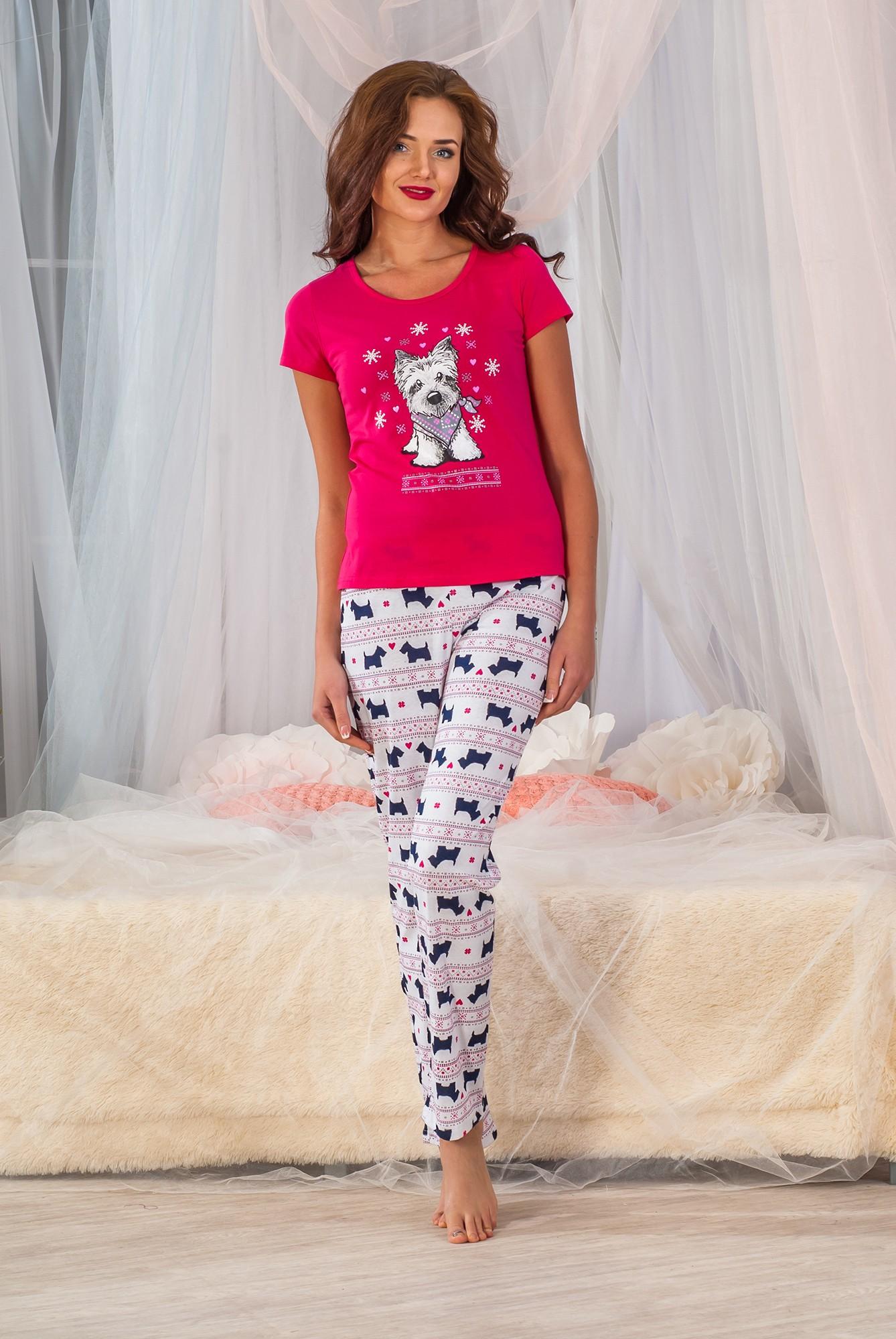 Костюм женский Паппи футболка и брюкиКостюмы<br><br><br>Размер: Малина