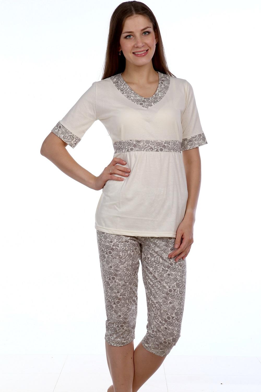 Пижама женская Айгуль кофта с коротким рукавом и бриджиДомашняя одежда<br><br><br>Размер: 52