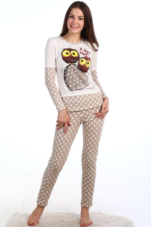 Пижама женская Чибис кофта с длинным рукавом и узкие брюкиДомашняя одежда<br><br><br>Размер: 46