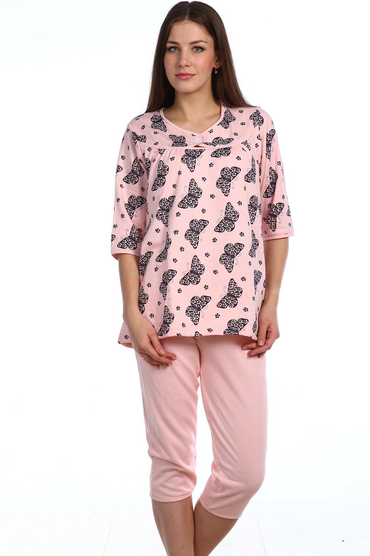Пижама тёплая женская  Меган кофта с рукавом 3\4 и бриджиДомашняя одежда<br><br><br>Размер: 54