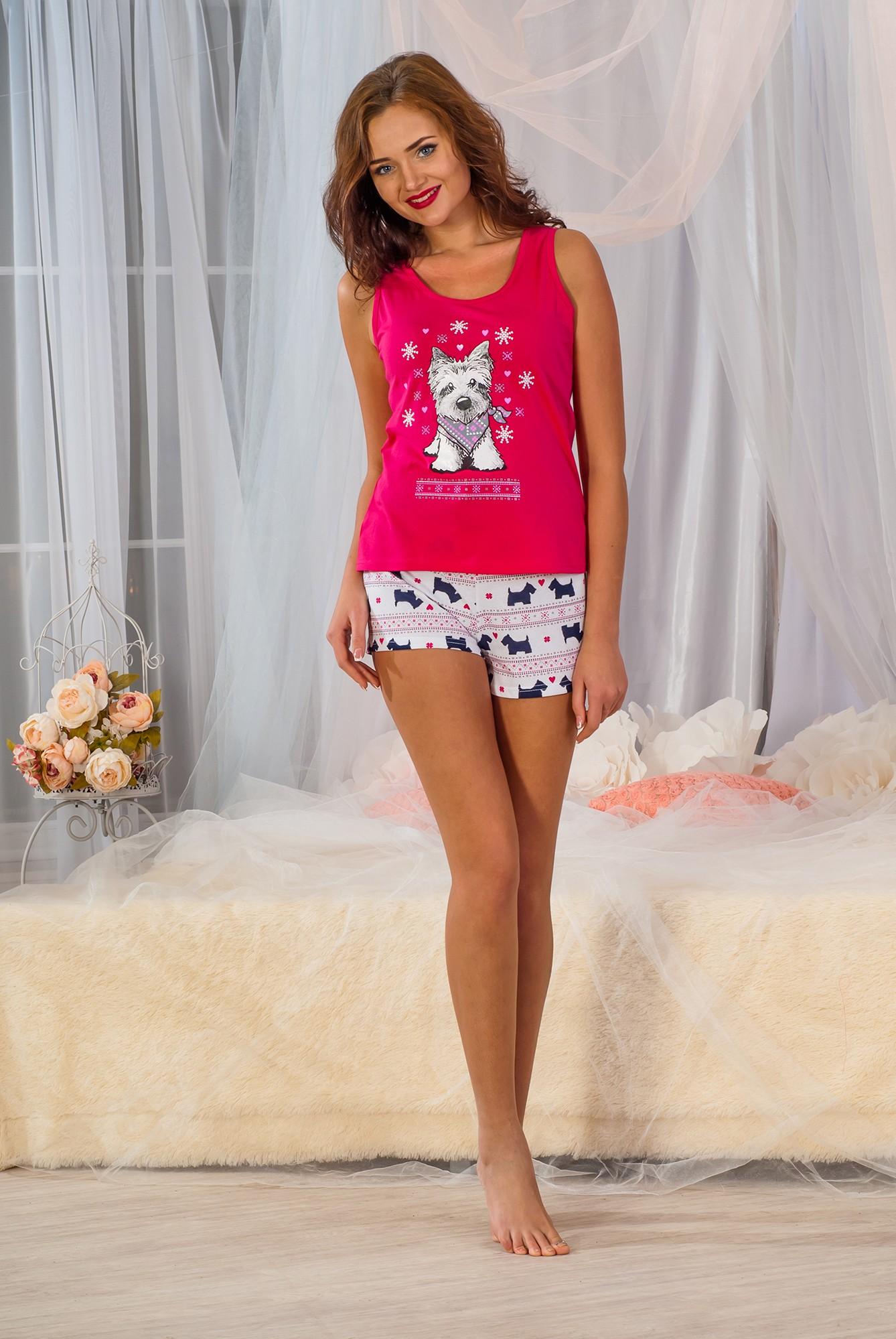 Пижама женская Паппи П майка и шортыДомашняя одежда<br><br><br>Размер: Синий