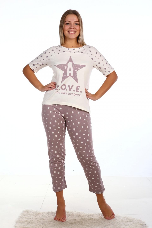 Пижама женская Прима футболка и каприДомашняя одежда<br><br><br>Размер: 44