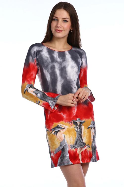 Платье Мадам с длинным рукавомПлатья<br><br><br>Размер: 54