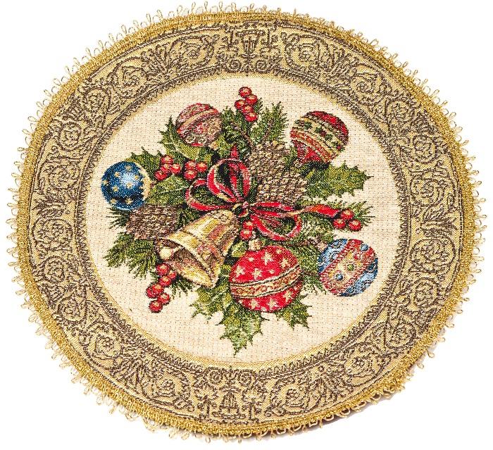 Салфетка гобеленовая Новогодний мотивПодарки на Новый год и Рождество<br><br><br>Размер: 35х34 см