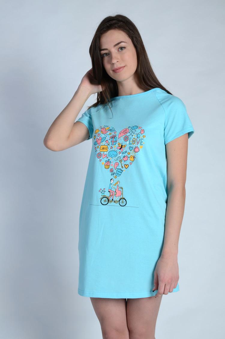 Сорочка женская Виолетта с коротким рукавомДомашняя одежда<br><br><br>Размер: Бирюзовый