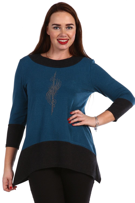 Туника женская Иностранка с длинным рукавомТуники, рубашки и блузы<br><br><br>Размер: 54