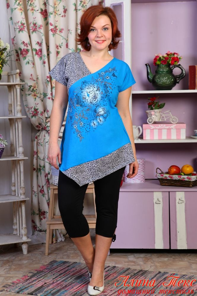 Туника Косая линия с коротким рукавомТуники, рубашки и блузы<br><br><br>Размер: 46