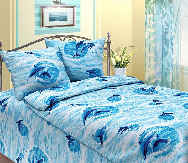 Комплект постельного белья ДельфиныБязь<br><br><br>Размер: 1,5-спальный