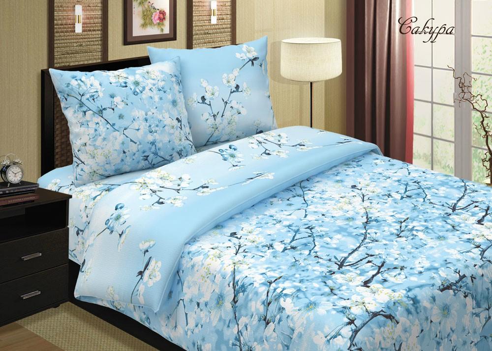 Комплект постельного белья Сакура (голубая)Поплин<br><br><br>Размер: 1,5-спальный