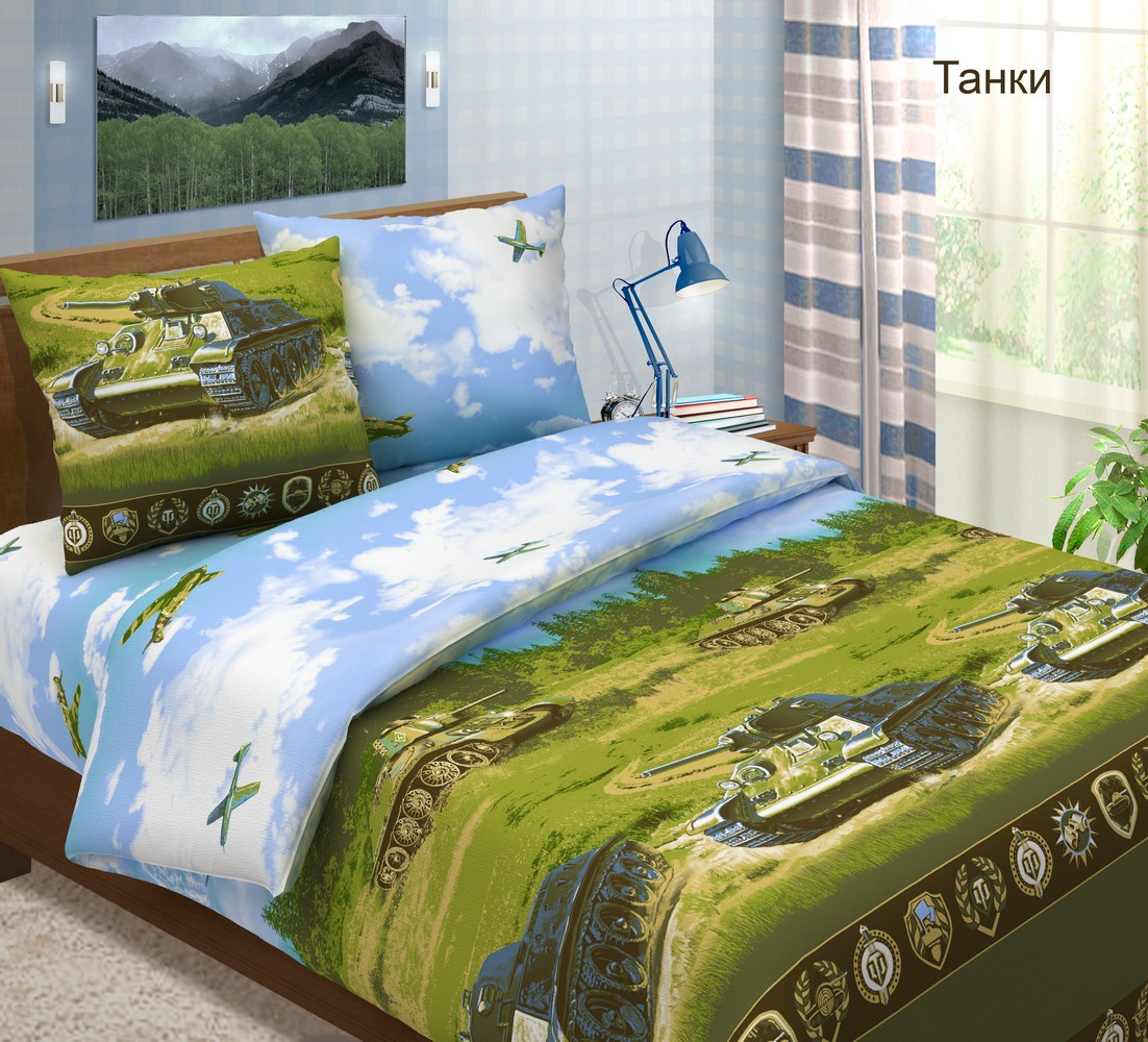 Комплект постельного белья ТанкиПодарки к 23 февраля<br><br><br>Размер: Евростандарт