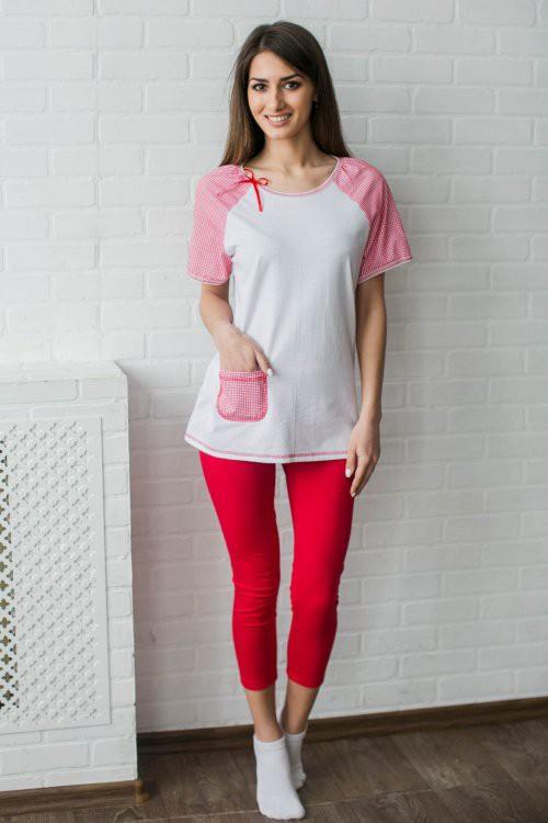 Костюм женский Весна футболка и бриджиКомплекты домашние теплые<br><br><br>Размер: 44