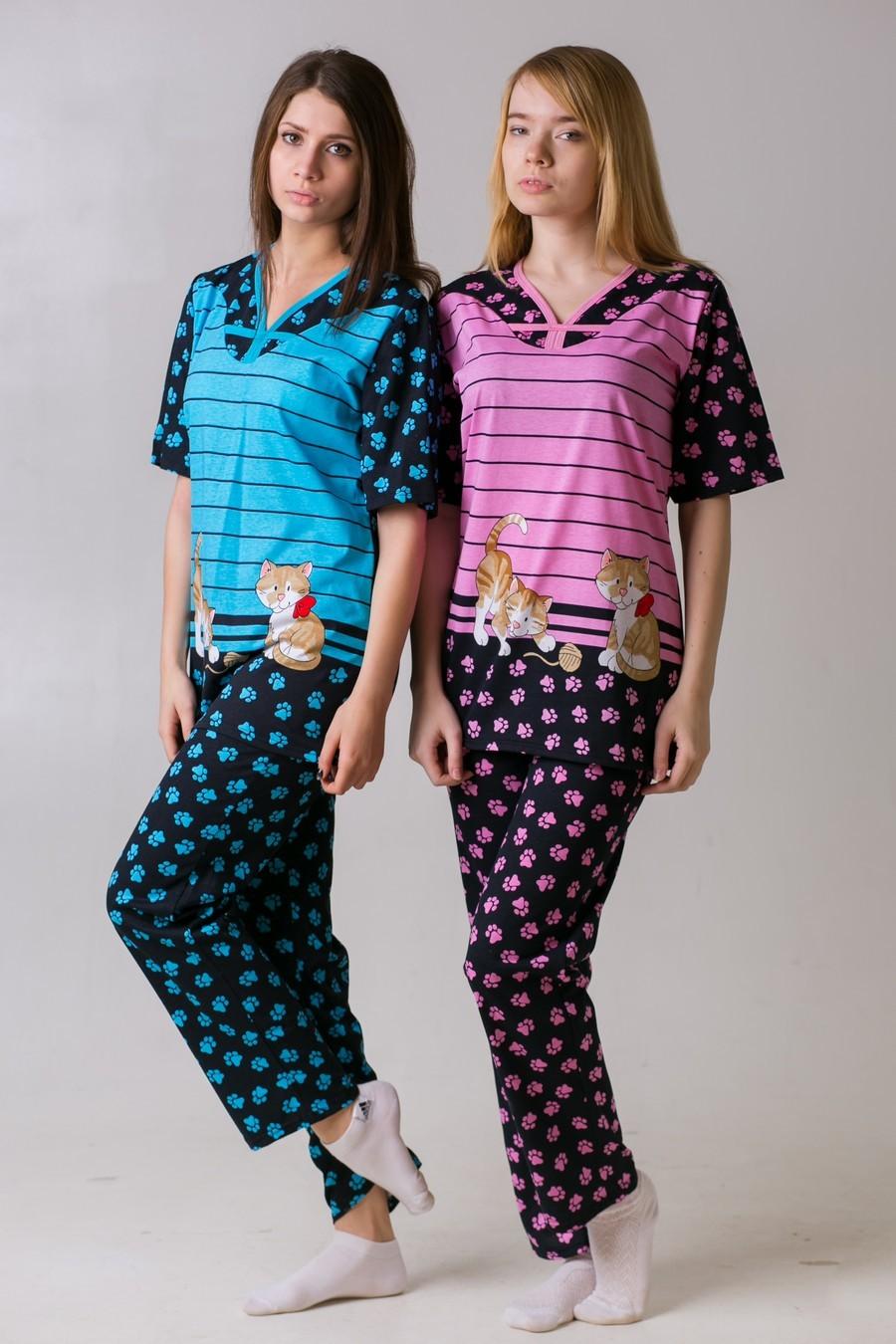 Костюм женский Лапки брюкиКомплекты домашние теплые<br><br><br>Размер: Голубой