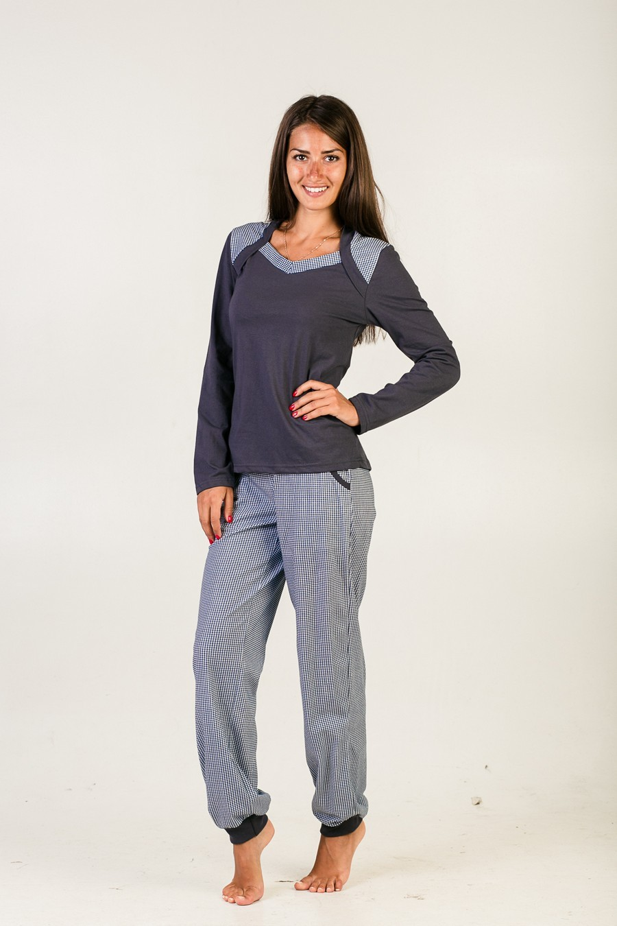 Комплект Меланж Клетка (блузка+брюки)Коллекция ОСЕНЬ-ЗИМА<br><br><br>Размер: Синий