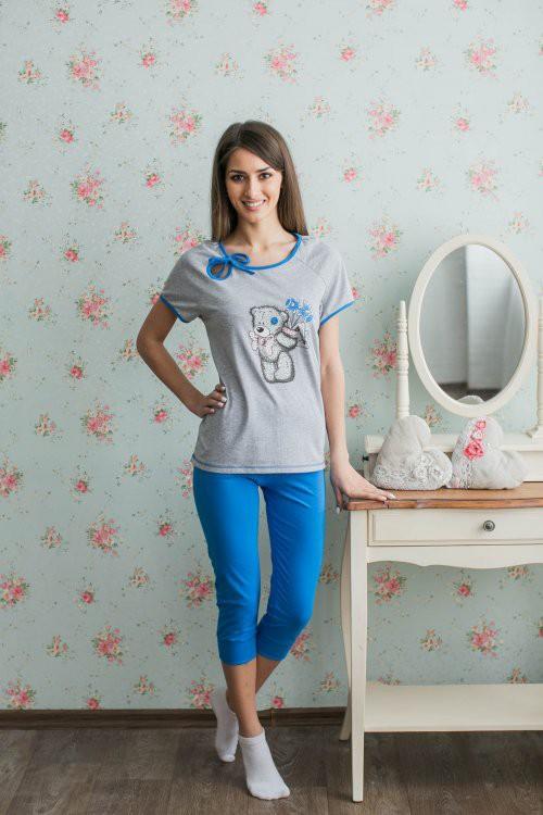 Костюм женский Мишка Тедди (футболка+бриджи)Домашние комплекты, костюмы<br><br><br>Размер: 46